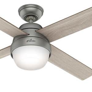 Hunter Fan 52 inch Contemporary Matte Silver Indoor Ceiling Fan with Light Kit and Remote Control for $60