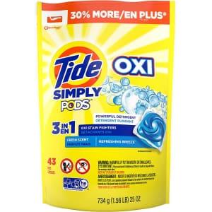 Tide Simply PODS +Oxi Liquid 25-oz. Laundry Detergent Capsules 43-Pack for $7.49 via Sub & Save