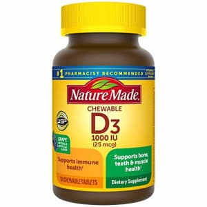 Nature Made Vitamin D3, 120 Chewable Tablets, Vitamin D 1000 IU (25 mcg) Helps Support Immune Health, Strong for $43