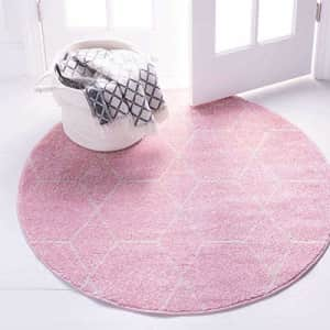 Unique Loom Trellis Frieze Collection Lattice Moroccan Geometric Modern Round Rug, 3 Feet, Light for $38