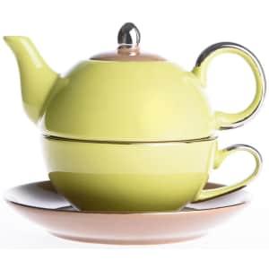 Artvigor 3-Piece Porcelain Teapot, Teacup, and Saucer Set for $20