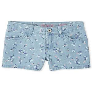 The Children's Place Girls' Printed Denim Shorts, Cherry Blossom, 6X/7 for $15