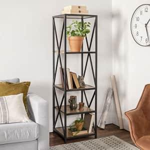 Walker Edison Furniture Company 4 Tier Open Shelf Wood Tall Metal Bookcase Bookshelf Home Office for $119