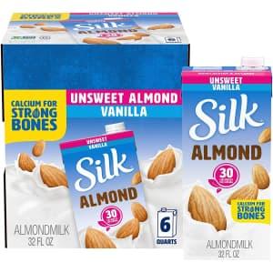 Silk Unsweetened Vanilla Almond Milk 32-oz. 6-Pack for $10