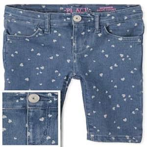 The Children's Place Girls' Denim Skimmer Shorts, White, 4 for $17