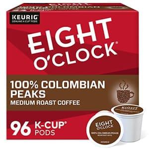Eight O'Clock Coffee Colombian Peaks Single-Serve Keurig K-Cup Pods, Medium Roast Coffee Pods, 96 for $35