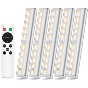 Szokled Wireless LED Under Cabinet Lighting 5-Pack for $40