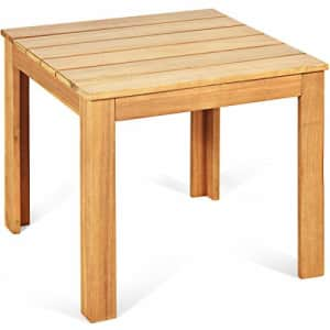 Giantex Side Table Outdoor Acacia Wood W/Oil Finished, Square and Large Weight Capacity for Patio for $70