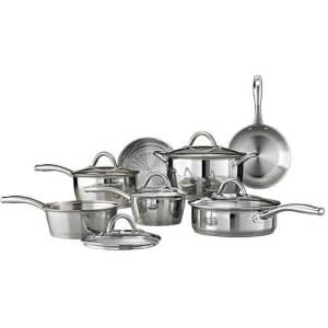 Tramontina 80154/522 Gourmet Stainless Steel Tri-Ply Base Cookware Set, 12 Piece, Made in Brazil for $115