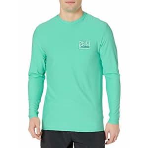 Billabong Men's Loose Fit Long Sleeve Rashguard Surf Shirt, Light Aqua Crayon Wave LS, M for $40