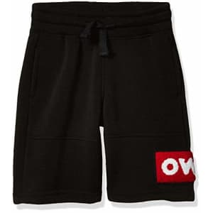 Southpole - Kids Boys' Little Jogger Shorts in Basic Solid Colors and Fleece Fabric, Black Chenille for $10