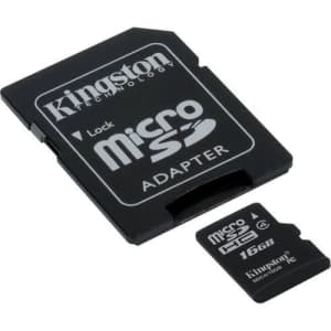 Transcend Samsung Replenish Cell Phone Memory Card 16GB microSDHC Memory Card with SD Adapter for $30