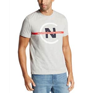 Nautica Men's Short Sleeve Crew Neck Competition Shirt, Grey Heather, Small for $28