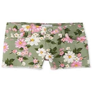 The Children's Place Girls' Printed Denim Shorts, Misty Glen, 5 for $10