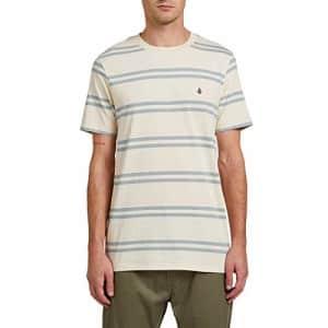 Volcom Men's Yewbisu Crew Short Sleeve Striped Shirt, White Flash, XSmall for $17