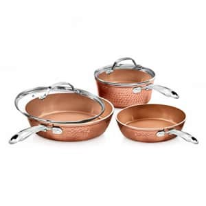 Gotham Steel Premium Hammered Cookware 5 Piece Ceramic Cookware, Pots and Pan Set with Triple for $63