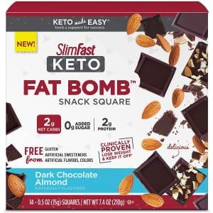 Slim-Fast Keto Fat Bomb Dark Chocolate Almond Snack Square 14-Count Box for $6