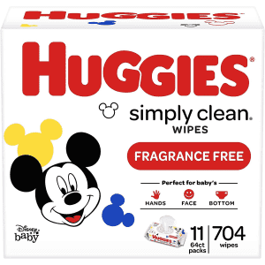 Huggies Simply Clean Fragrance-Free Baby Wipes 704-Count Box for $17