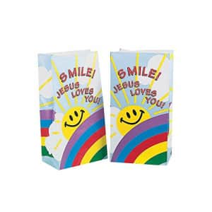 Fun Express - Smile! Jesus Loves You Paper Bags for Party - Party Supplies - Bags - Paper Treat for $17