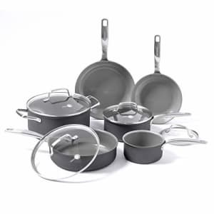 GreenPan Chatham Healthy Ceramic Nonstick, Cookware Pots and Pans Set, 10 Piece, Gray for $200