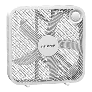 PELONIS PFB50A2BWW 3-Speed Box Fan for Full-Force Circulation with Air Conditioner, White, 2020 New for $37