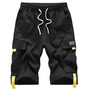 VtuAOL Men's Elastic Waist Cargo Shorts for $12