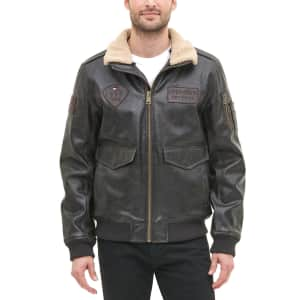Tommy Hilfiger Men's Top Gun Faux Leather Aviator Bomber Jacket for $100