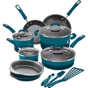 Rachael Ray 15-Piece Hard Enamel Nonstick Cookware Set (Marine Blue) for $112