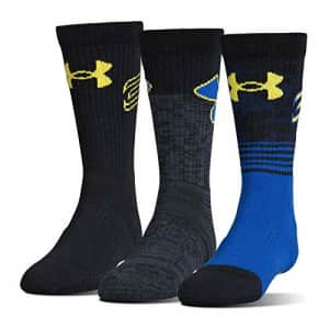 Under Armour Youth Phenom Curry Crew Socks, 3-Pairs, Royal, Youth Large for $21