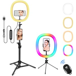 """Zacro 12"""" RGB Selfie Ring Light with Tripod for $16"""