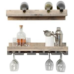"""Del Hutson Designs Rustic Luxe 24"""" 5-Bottle Wood Wall-Mounted Wine Rack Set for $43"""