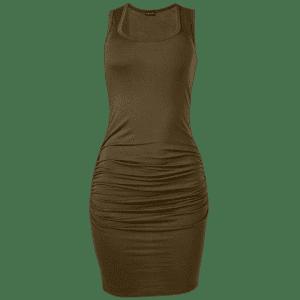 Venus Women's Sleeveless Ruched Bodycon Midi Dress for $13