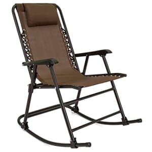 Best Choice Products Foldable Zero Gravity Rocking Mesh Patio Lounge Chair w/Headrest Pillow - Brown for $80