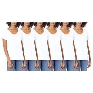 Hanes Women's V-Neck T-Shirt 6-Pack for $19