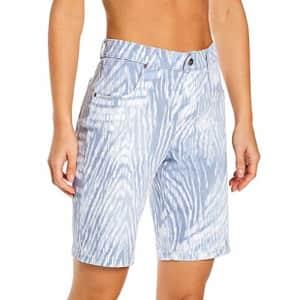 HUE Women's Ultra Soft Denim High Rise Bermuda Shorts, Blue Zebra, S for $40