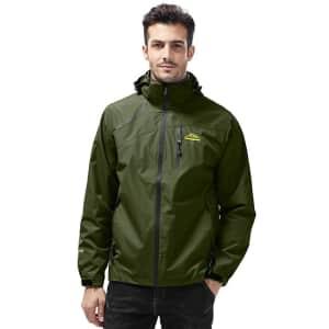 Men's Hooded Waterproof Jacket for $9