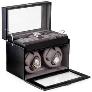 Bey-Berk Viceroy Leather 4-Watch Winder & 5-Watch Storage Case for $249