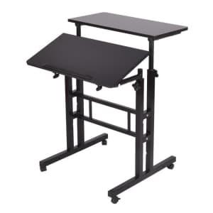 Mind Reader 2-Tier Adjustable Sit and Stand Mobile Workstation Desk for $33