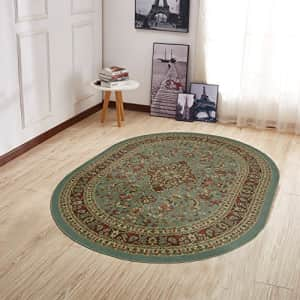 """Ottomanson Home Collection Modern Area Rug, 5' X 6'6"""" Oval, Sage Green Heriz for $89"""