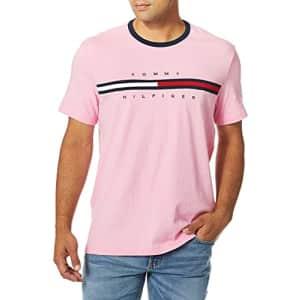 Tommy Hilfiger Men's Short Sleeve Logo T-Shirt, Fluro Pink, XL for $20