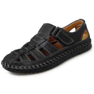 Hobibear Men's Closed Toe Leather Sandals for $24
