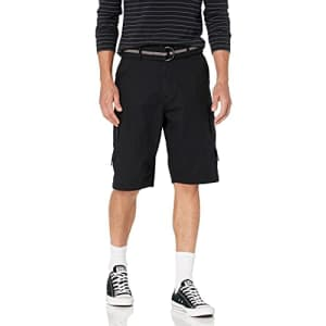 Beverly Hills Polo Club Men's Basic Cargo Shorts Belted, Tuscan Black 6240A, 30 for $15