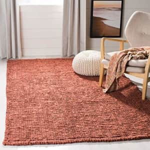 Safavieh Natural Fiber Collection NF447C Hand-woven Chunky Textured Jute Area Rug, 4' x 6', Rust for $94