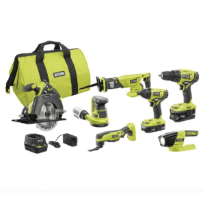 RYOBI ONE+ 18V Cordless 6-Tool Combo Kit with 2 Batteries for $199