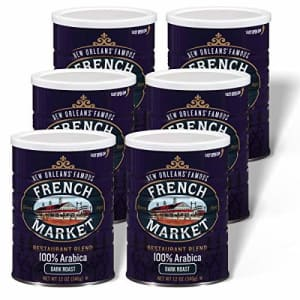 French Market Coffee, Restaurant Blend, Dark Roast Ground Coffee, 12 Ounce Metal Can (Pack of 6) for $51