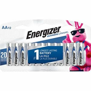 Eveready L91SBP12 Ultimate Lithium Batteries, AA, 12/Pack for $29