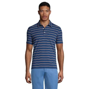 Lands' End Men's Tailored Fit Performance Polo Shirt for $8