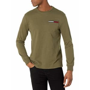 Tommy Hilfiger Men's Long Sleeve Cotton T Shirt, Army Green, XS for $38