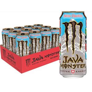 Monster Energy Java Monster Swiss Chocolate, Coffee + Energy Drink, 15 Fl Oz (Pack of 12) for $38