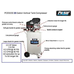 Pulsar PCE6200 Vertical Electrical Air Compressor, 20-Gallon for $244